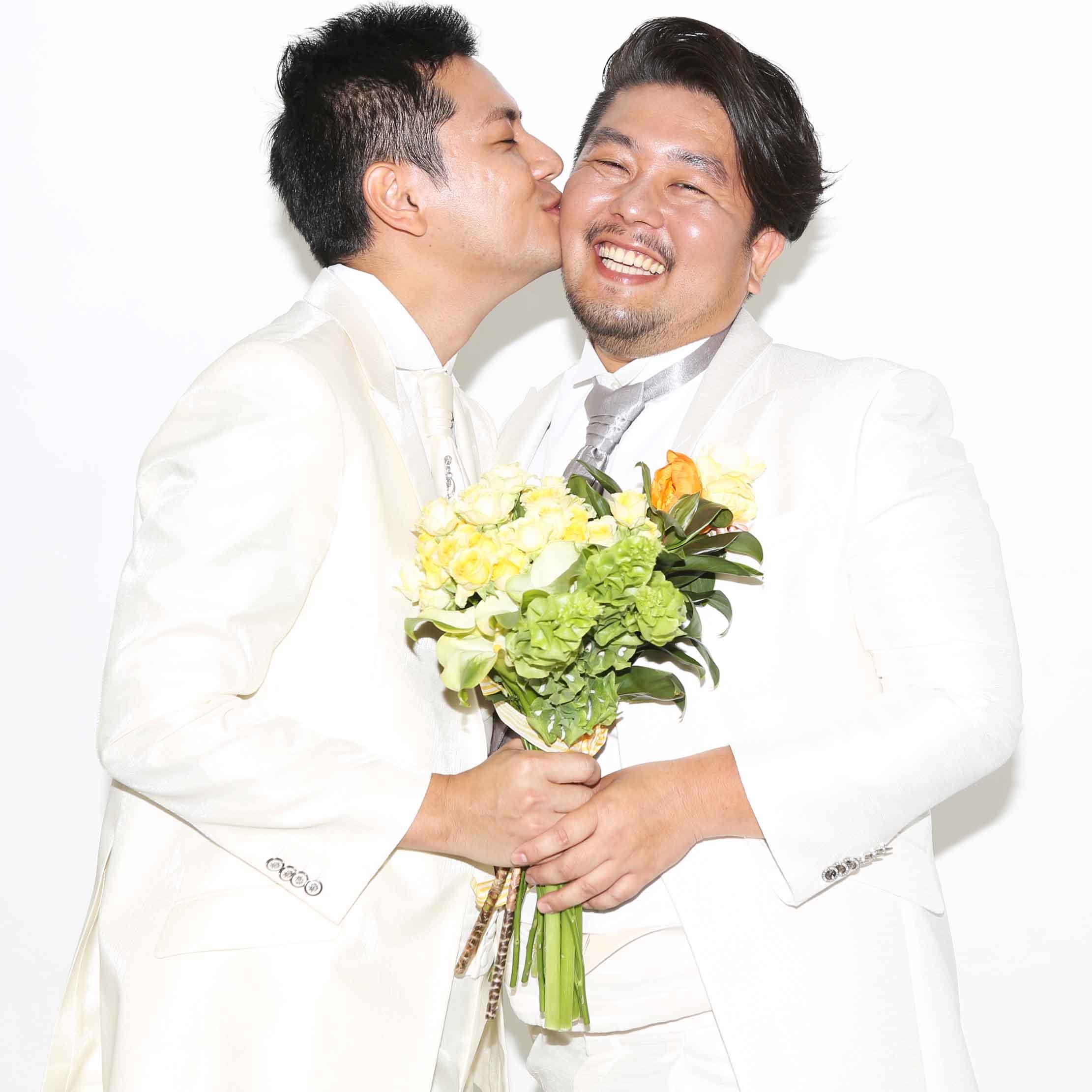 rainbow pride wedding photo
